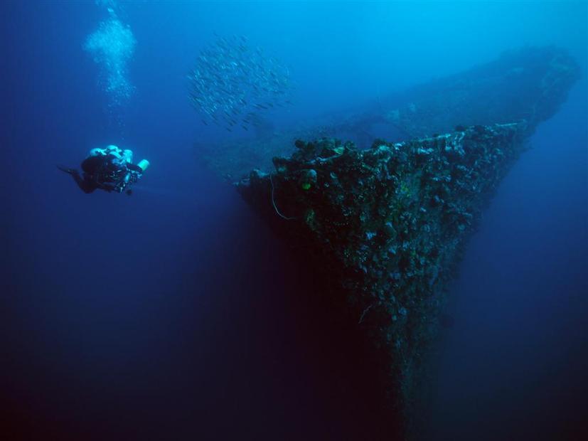 Bow of the Kyokuzan Maru, depth 30m